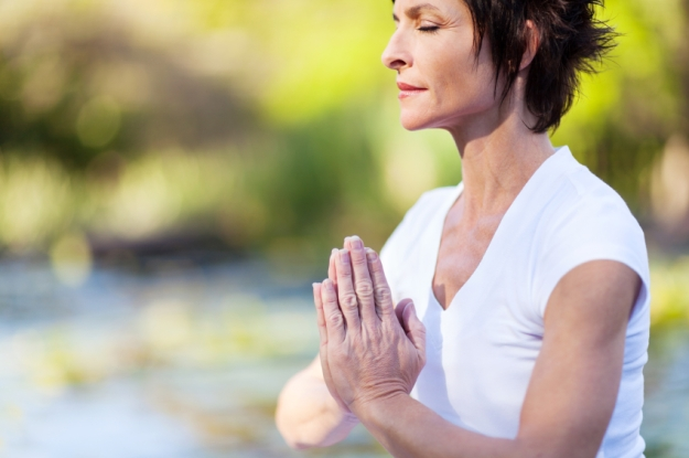 middle age woman meditation